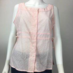 Anthropologie Elevenses Blouse Swiss Dot Pink/Rose